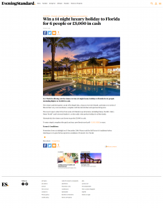 Win a 14 night luxury holiday to Florida for 6 people or £5 000 in cash London Evening Standard